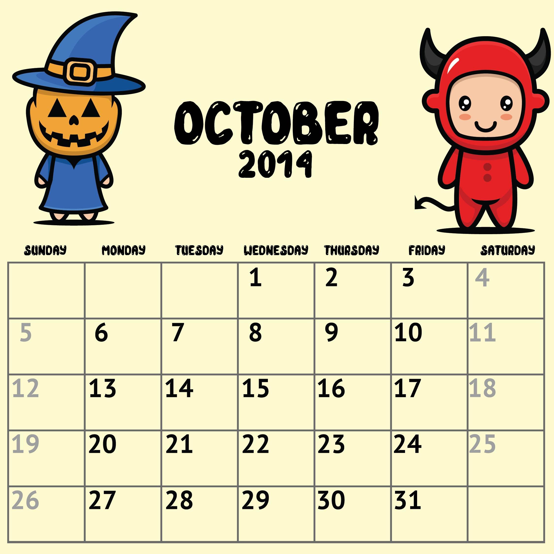 October 2014 Calendar Printable