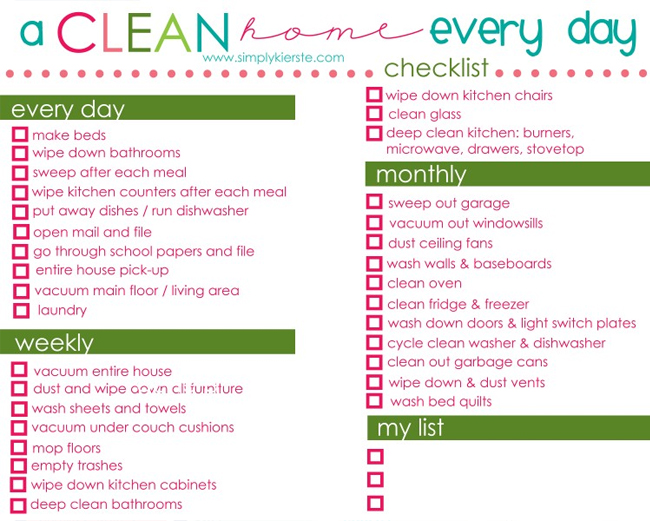 Organize Your Home Checklist Printable