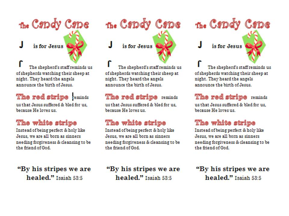 5 Images of Candy Cane Legend Bookmark Printable
