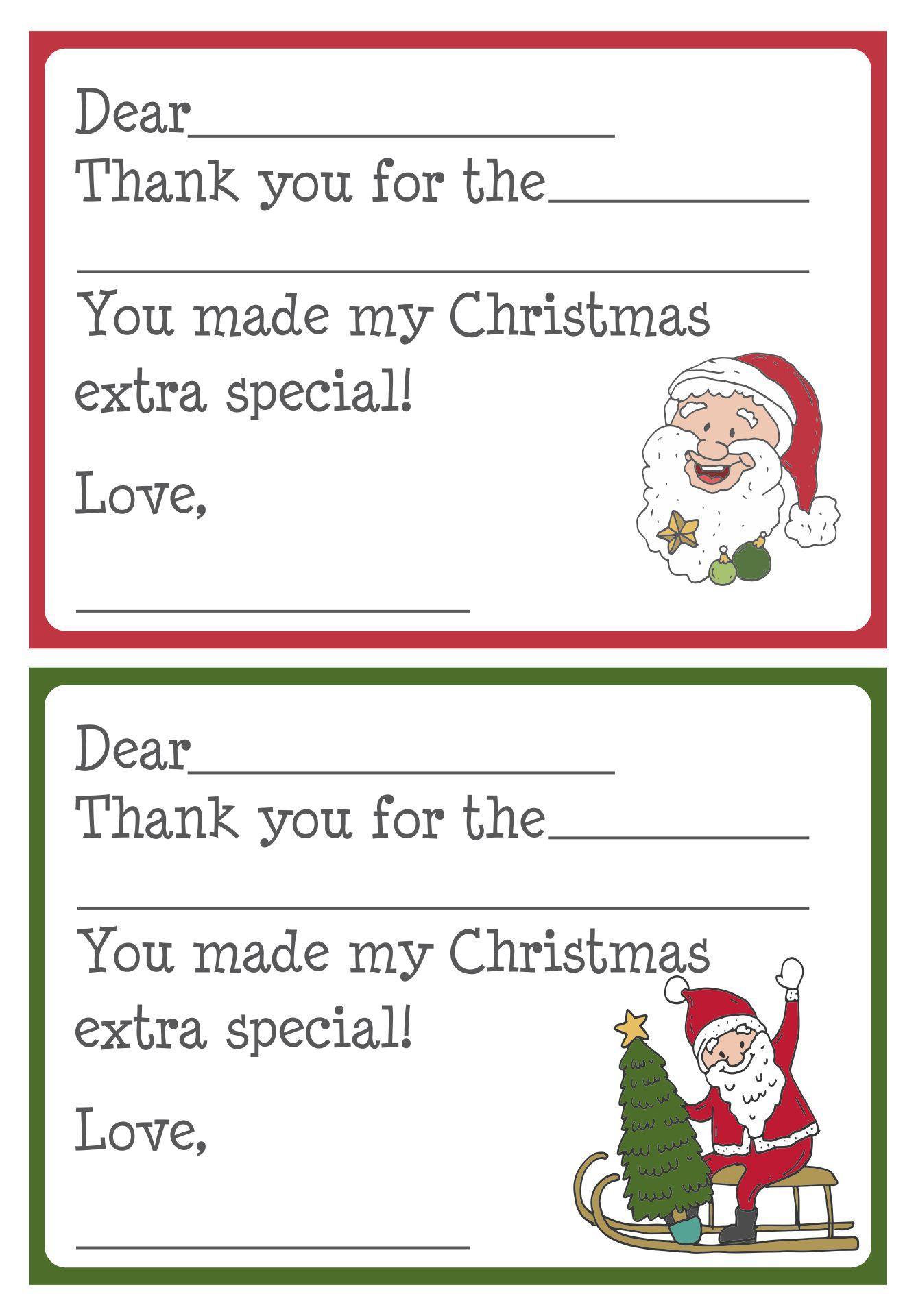 Printable Christmas Thank You Cards for Kids