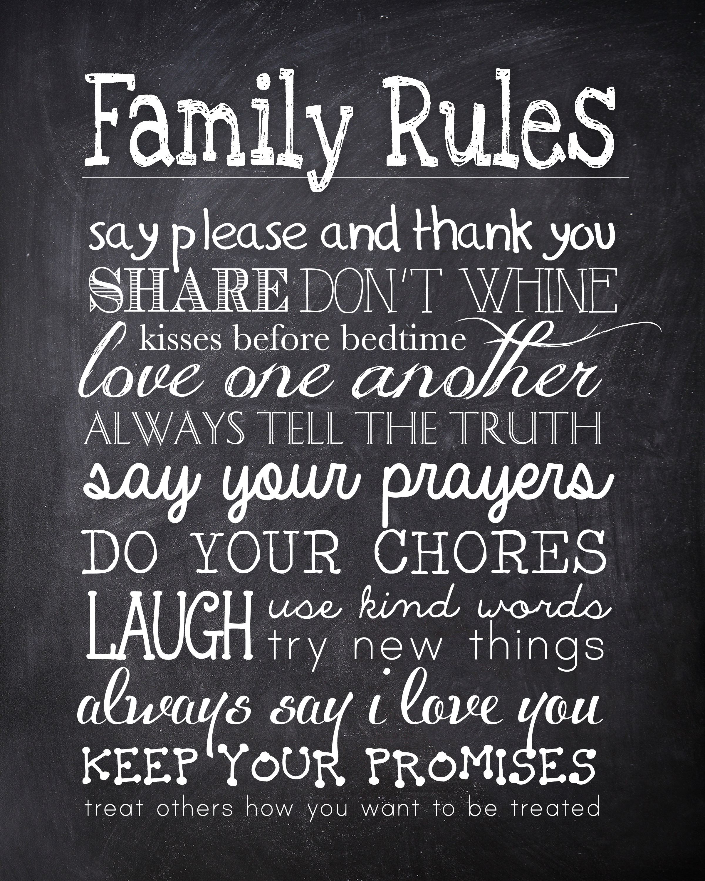6 Images of Family Chalkboard Printables Free