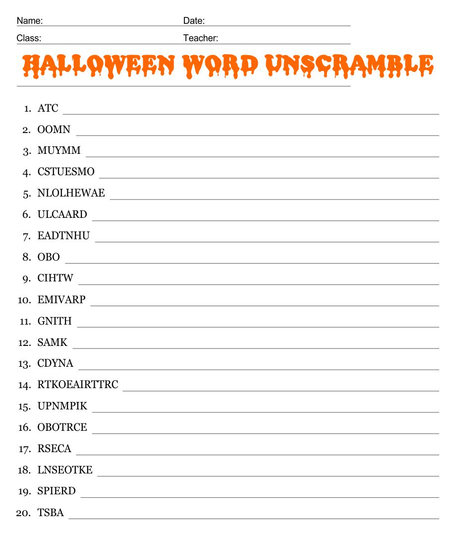 5 Images of Halloween Unscramble Printable