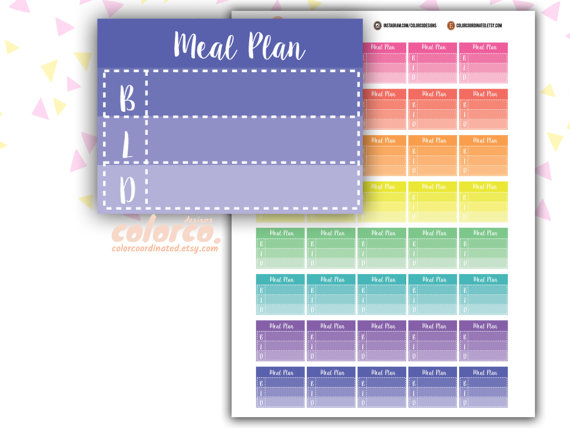 4 Images of Meal Plan Stickers Printable