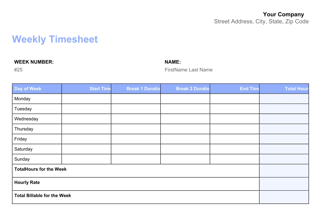 Printable Time Sheet Forms