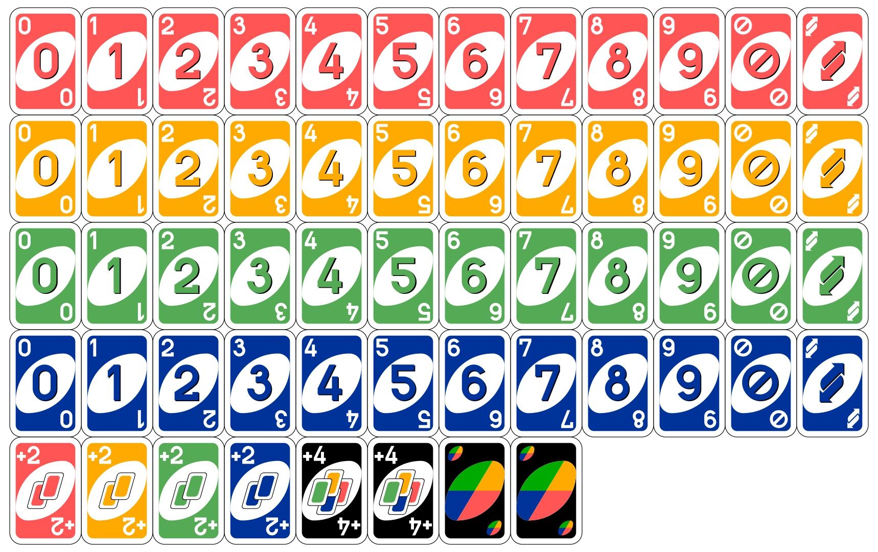 Printable Uno Deck Cards