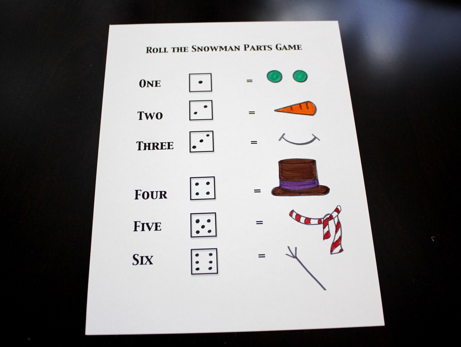6 Images of Snowman Dice Game Printable Worksheet