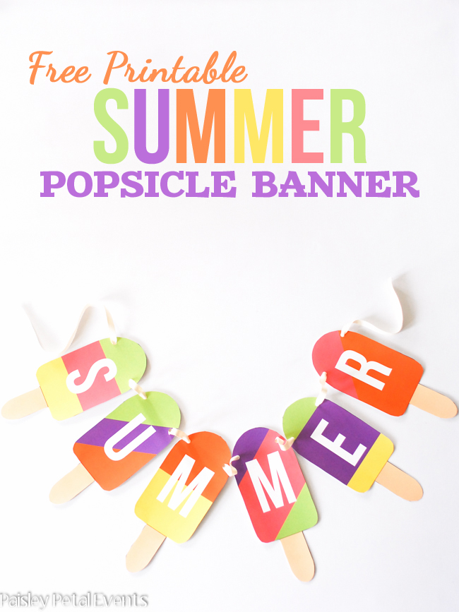 7 Images of Free Printable Banner Summer Popsicle