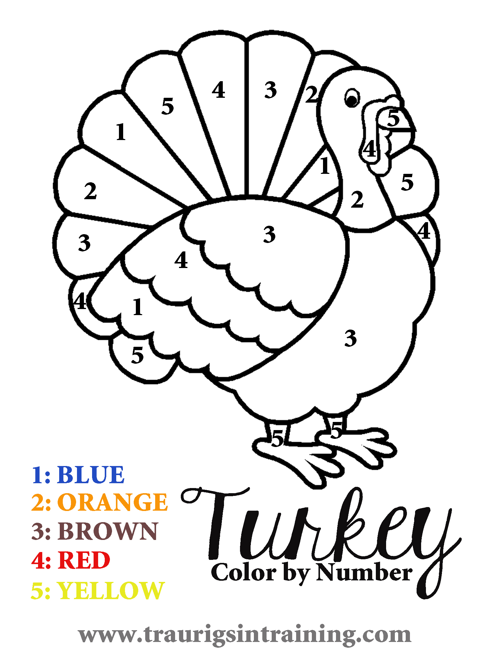 6 best images of free printable color by number turkey for Turkey coloring pages to print