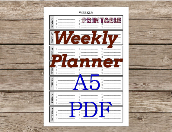4 Images of Vertical Weekly Planner Printable A5