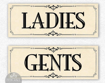 Pics for ladies and gents sign for Vintage bathroom printables