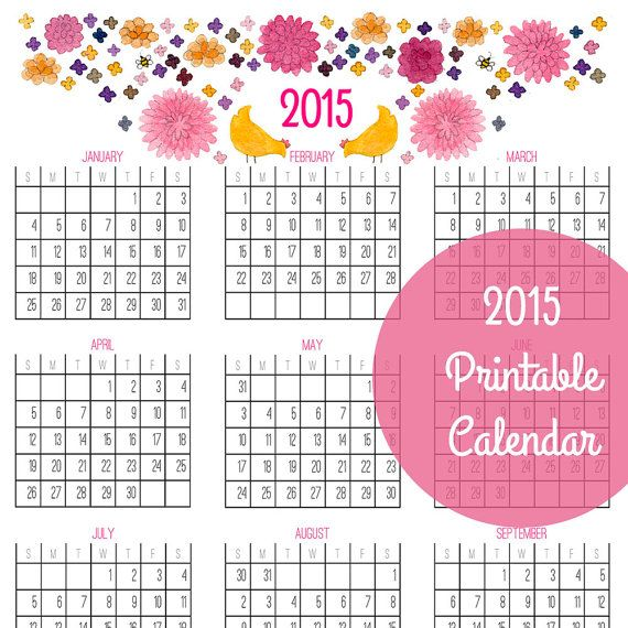 6 Images of 2015 Year At Glance Calendar Printable