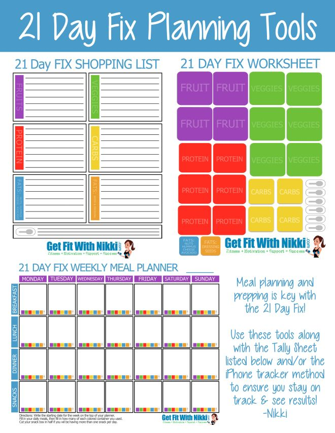 8 Images of 21-Day Fix Meal Plan Printable