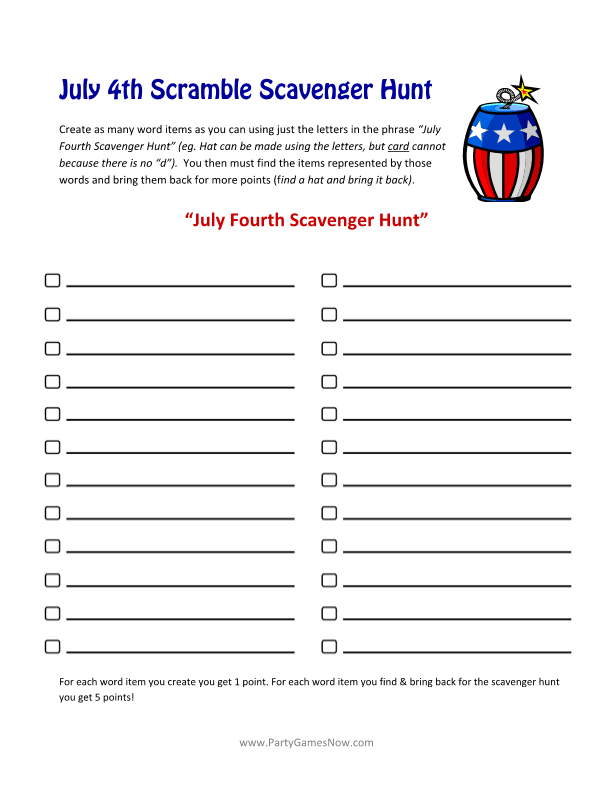 6 Images of Fourth Of July Word Scramble Printable Free