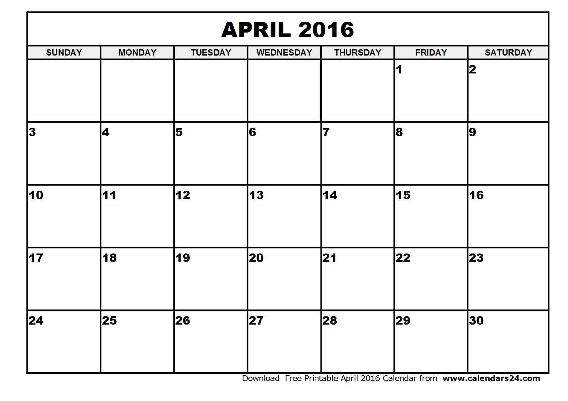 April 2016 Calendar Printable Org