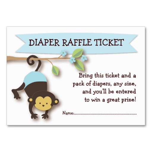 5 Images of Monkey Diaper Raffle Tickets Free Printable