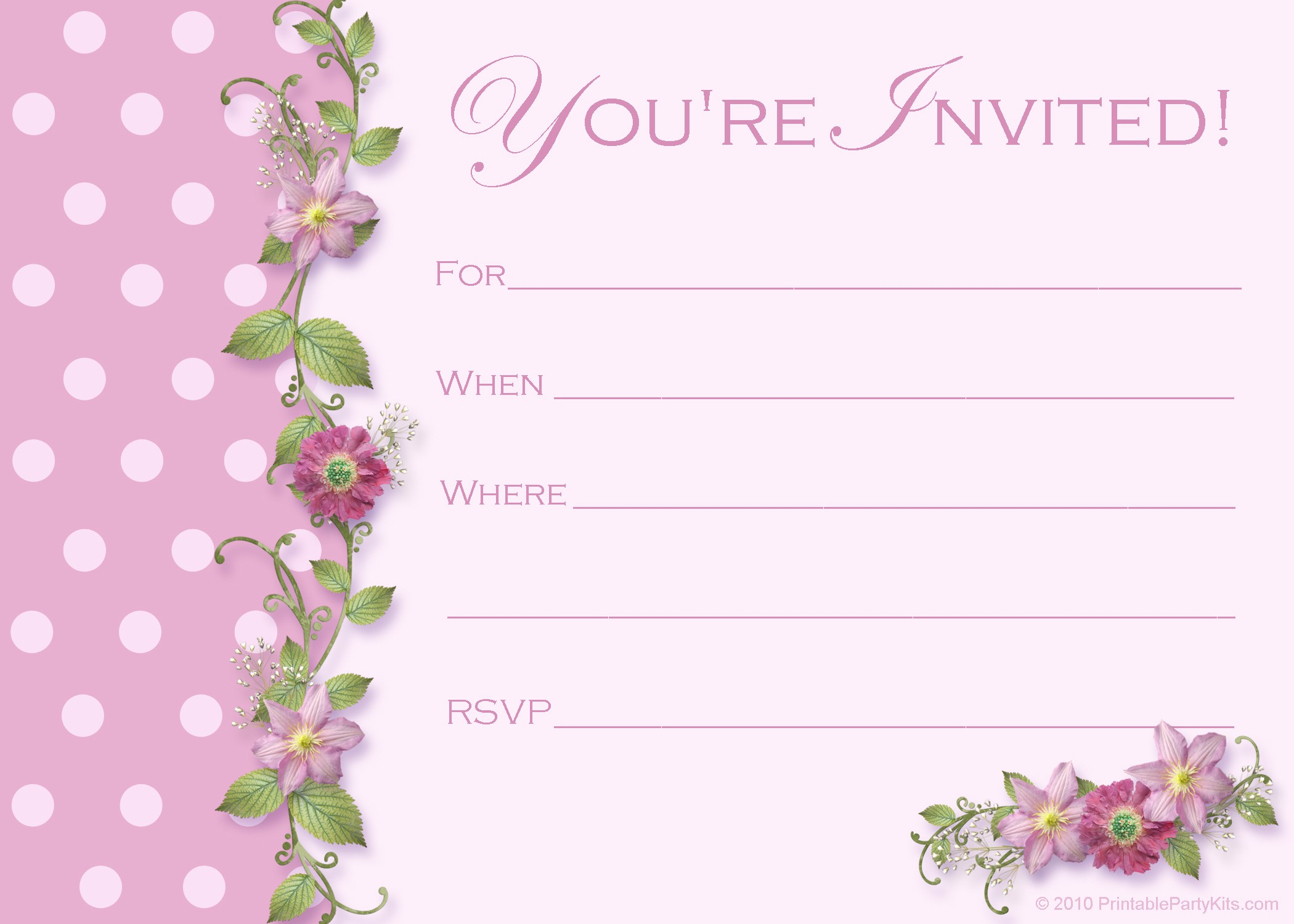 5 Images of Birthday Party Printable Invitation Templates