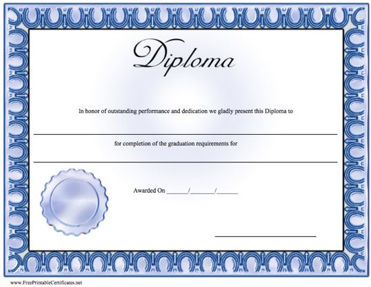 degree certificate template word - 7 best images of free printable blank diploma template