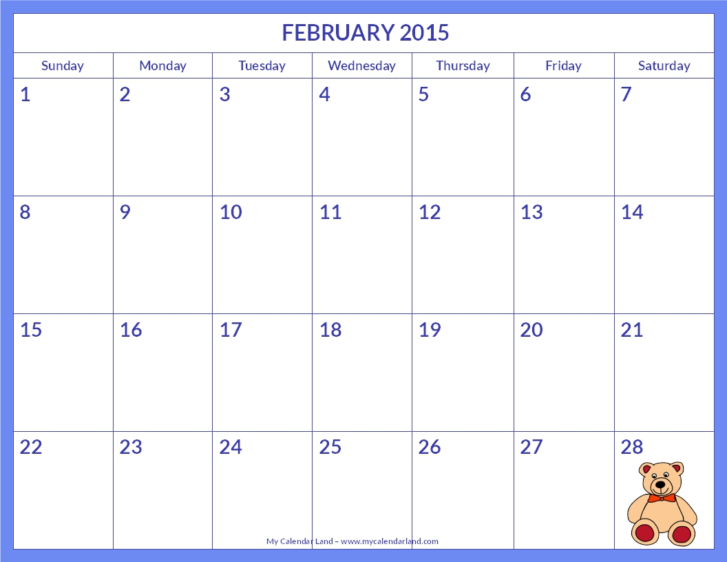 February Calendar Kids : Best images of blank february calendar printable