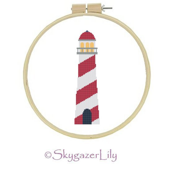 9 Images of Lighthouse Cross Stitch Pattern Printable