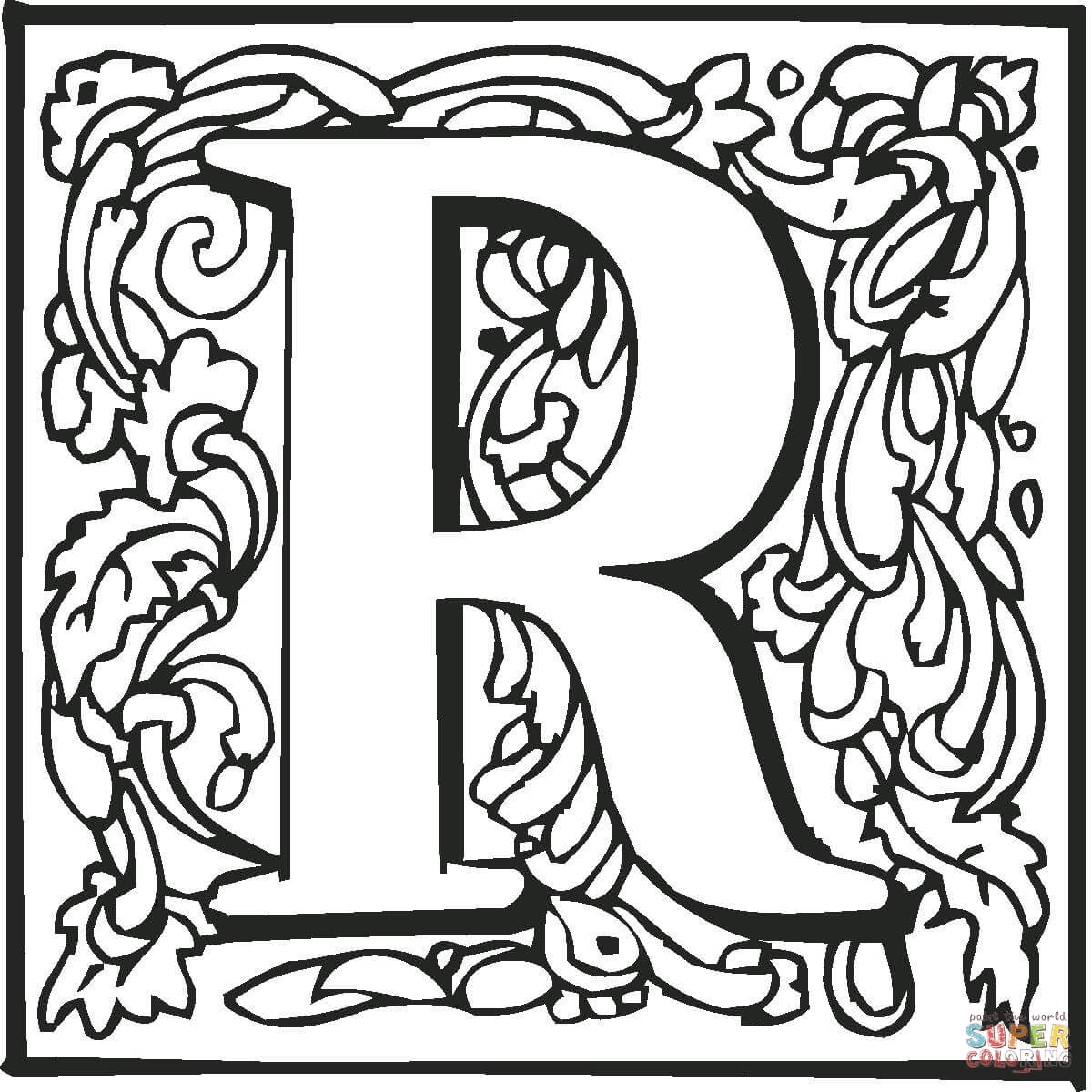 Coloring Pages Of Fancy Alphabet Letters : Best images of r coloring page printable book block