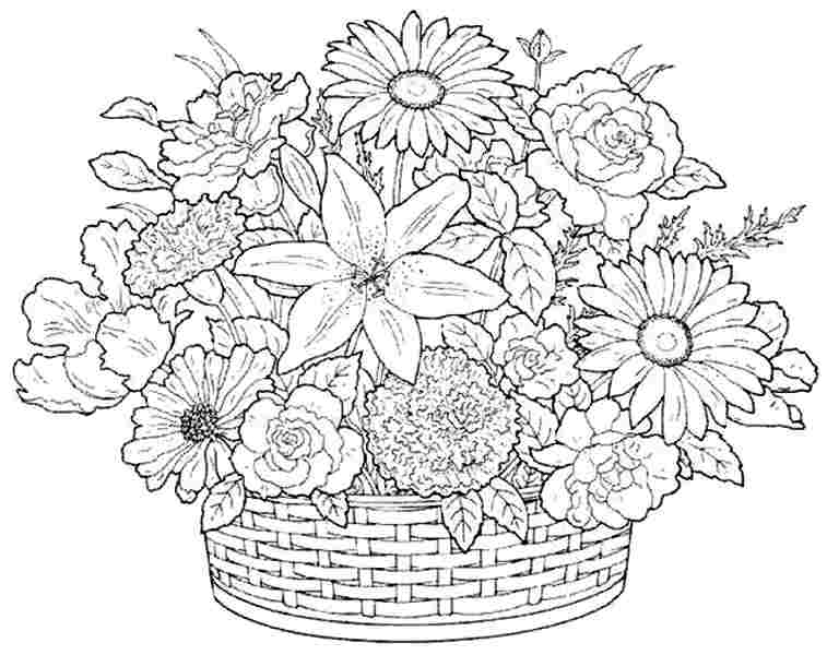 7 Best Images Of Free Printable Flower Bouquet Flower Flower Bouquet Coloring Pages