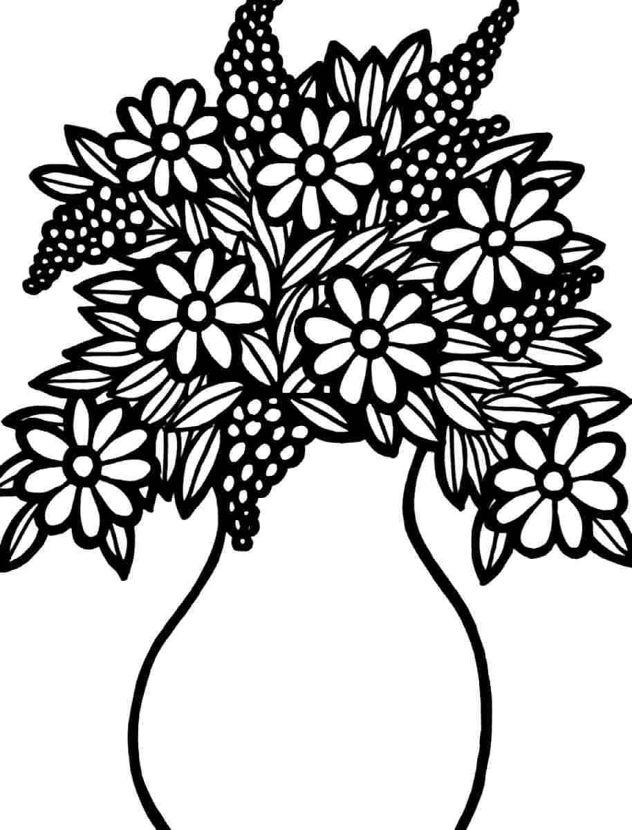 Flower Bouquet Coloring Pages Printable Rose