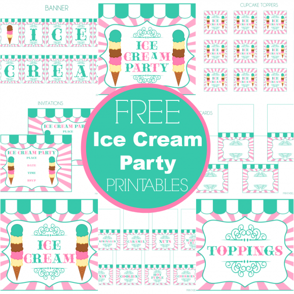 8 Images of Ice Cream Social Banner Printables