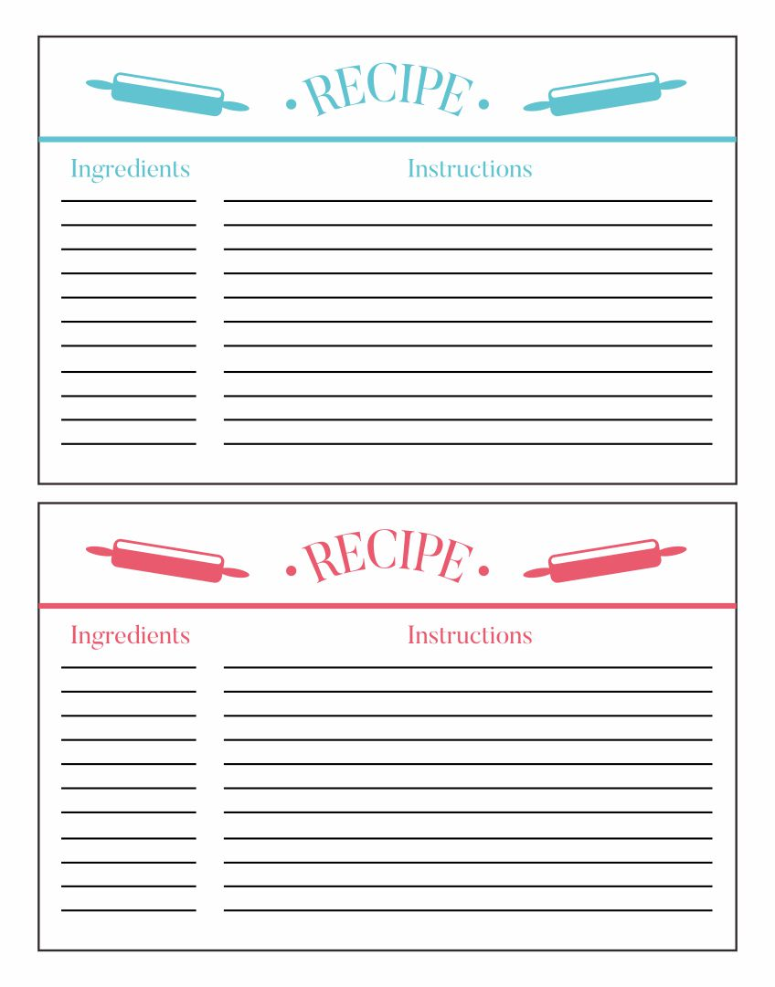 Printable 5X7 Recipe Card Template