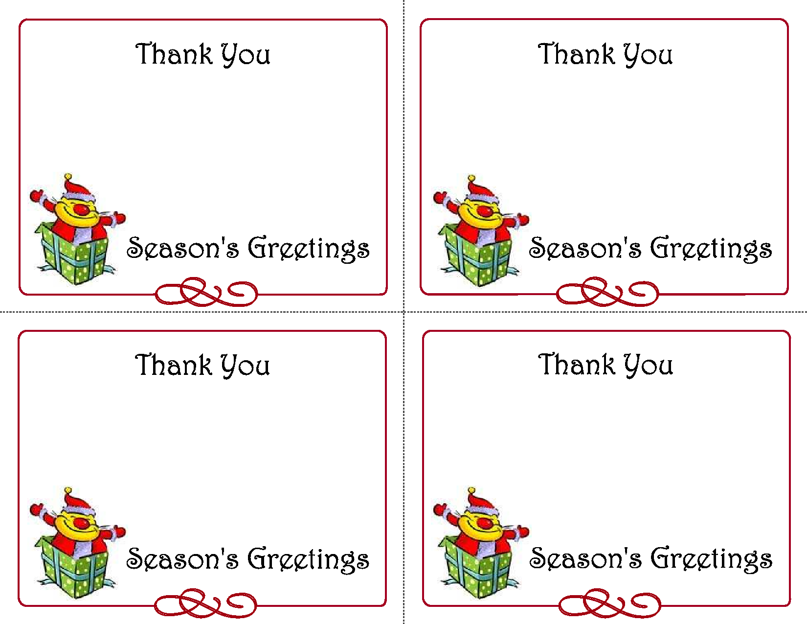 21 Best Printable Christmas Thank You Card Templates - printablee.com Throughout Christmas Thank You Card Templates Free