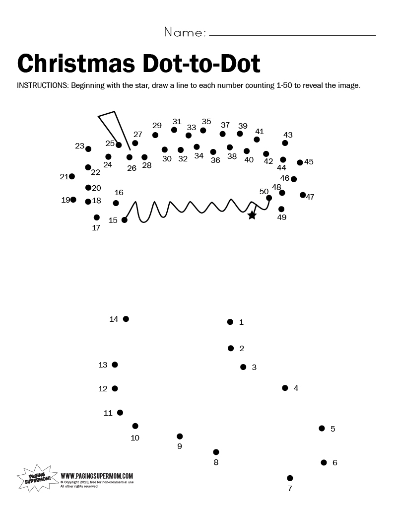 5 Best Images of Christmas Dot To Dot Printables - Free Printable ...