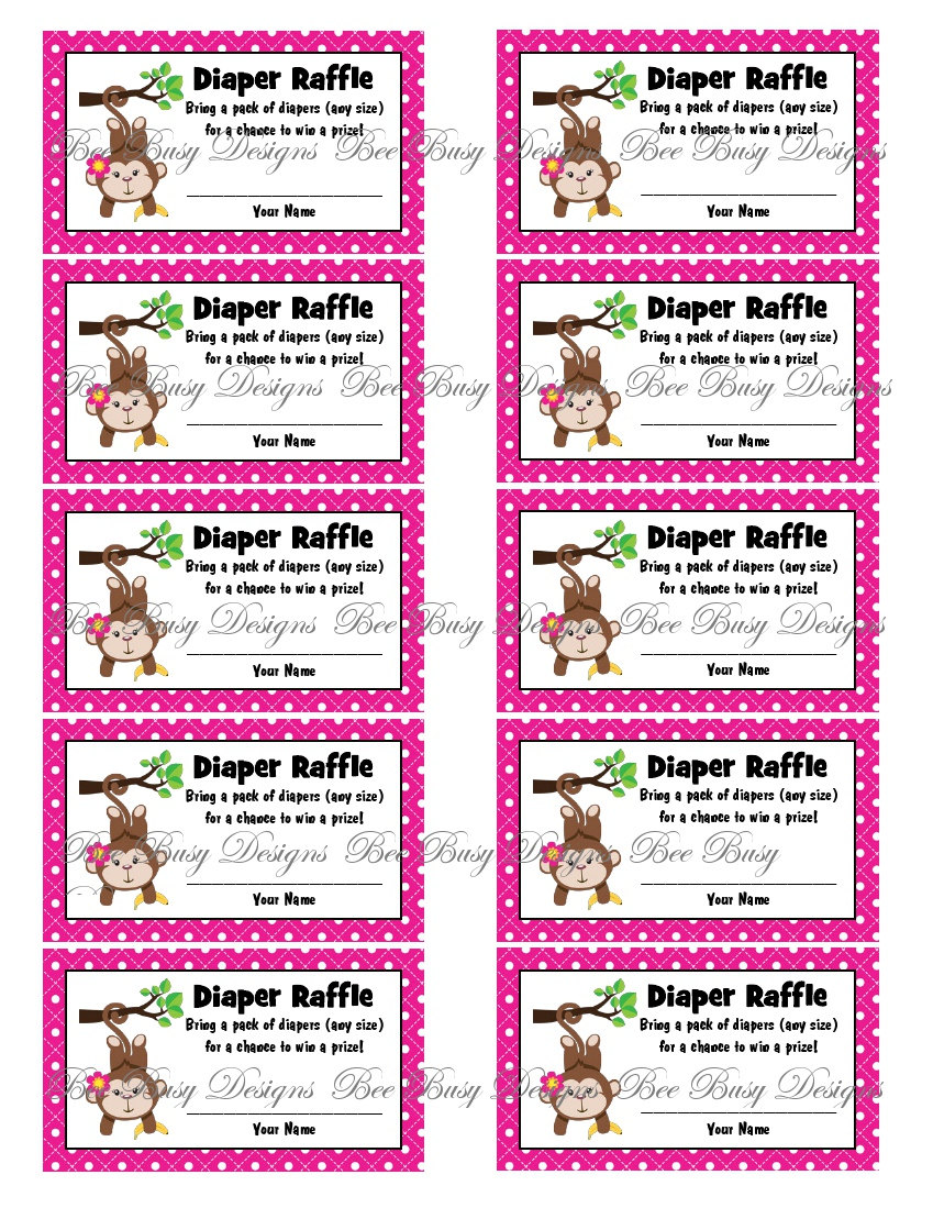 best images of monkey diaper raffle tickets printable printable diaper raffle ticket template