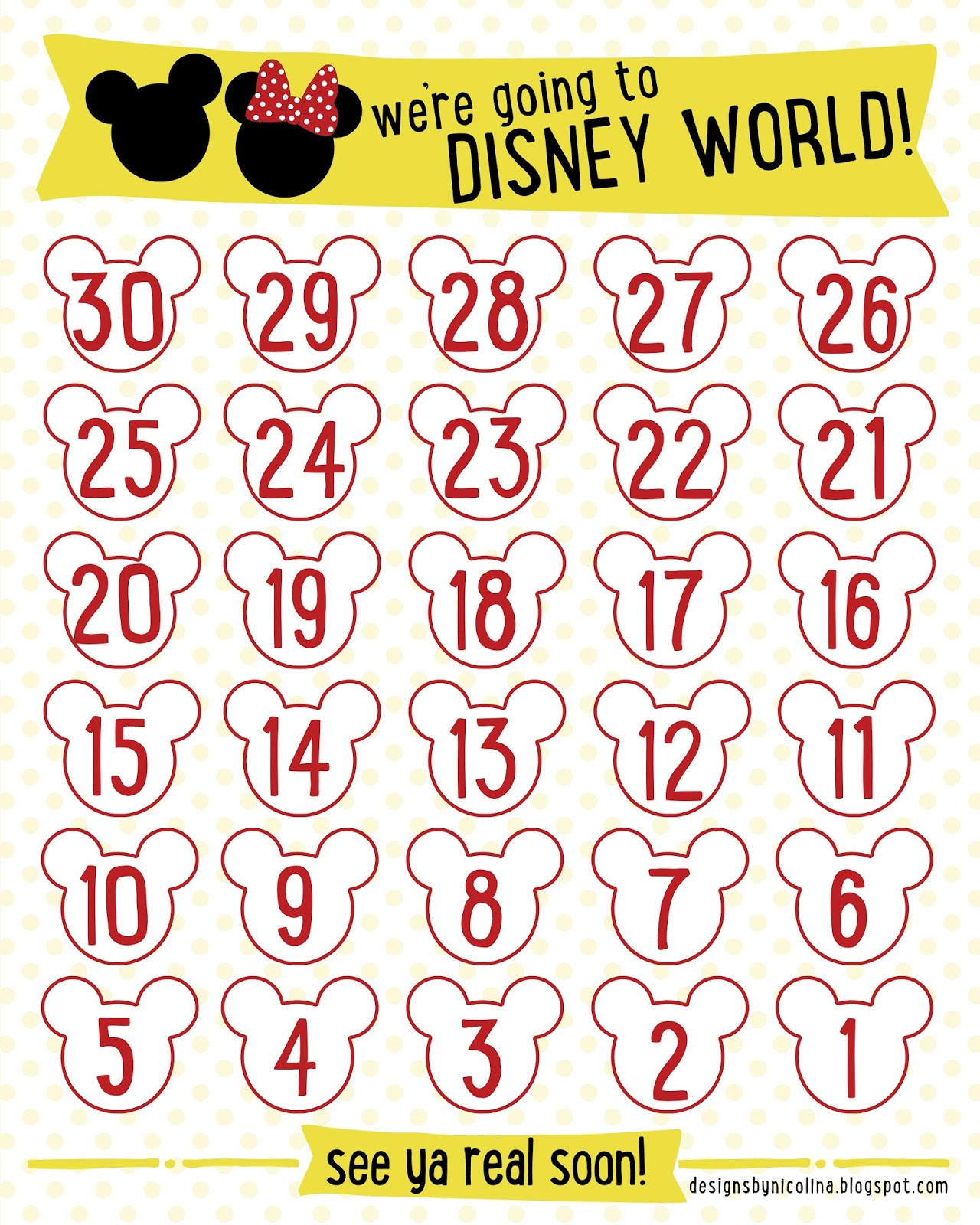 Free Printable Disney Countdown Calendar
