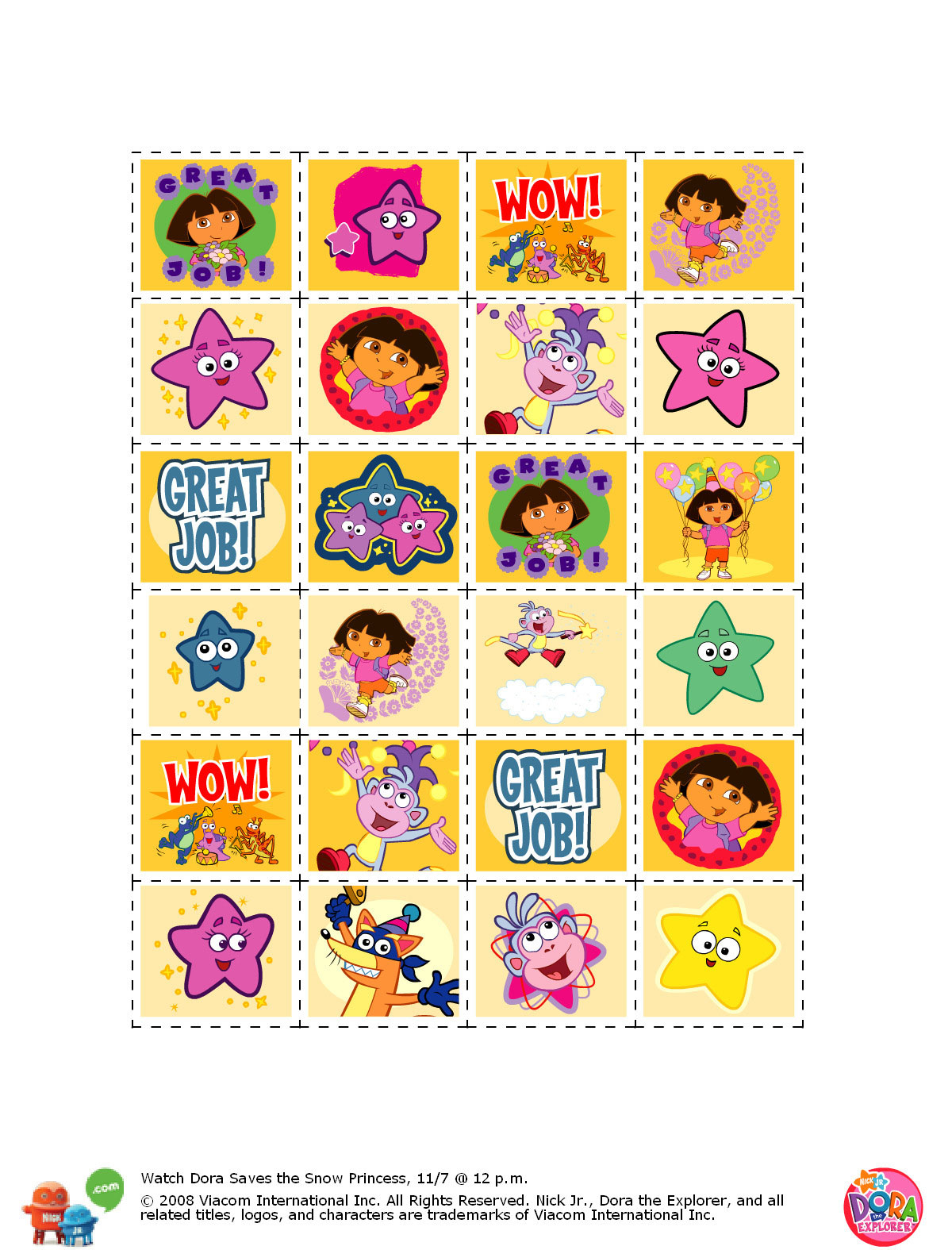 Free Printable Dora Stickers