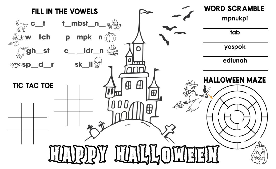 Printable Halloween Placemats