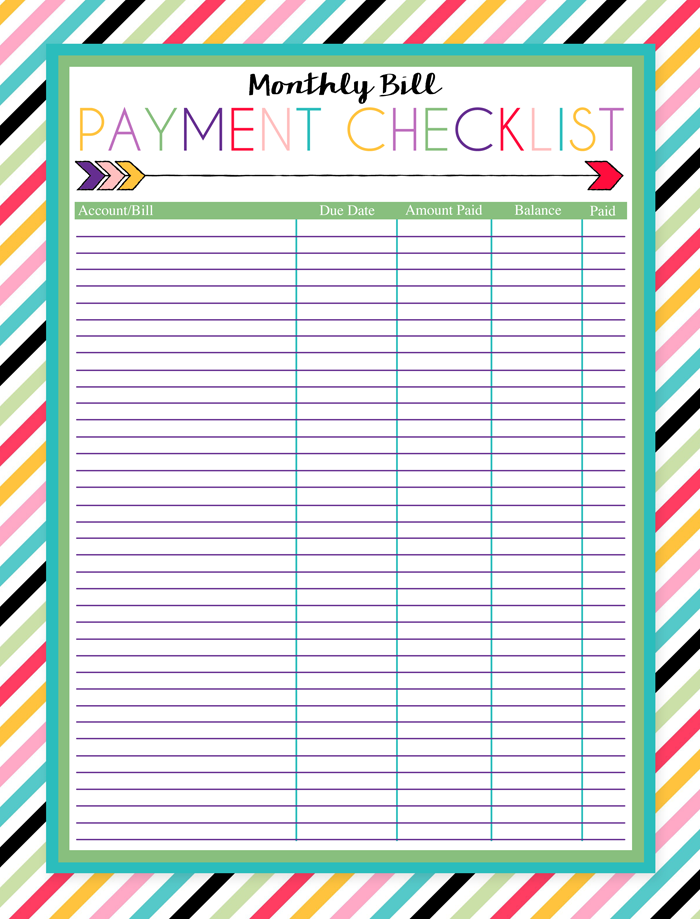 5 Images of Free Printable Monthly Bill Worksheet