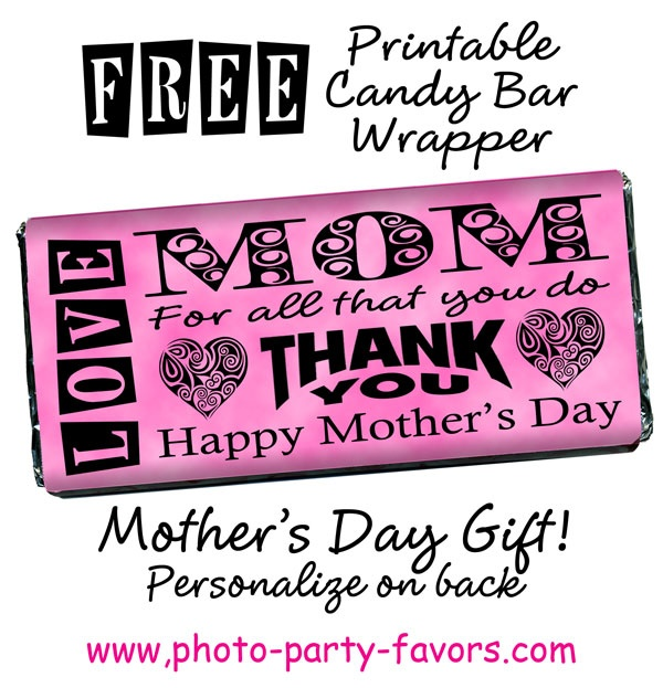 6 Images of Mother's Day Candy Wrapper Printables To Print