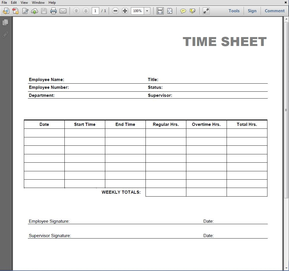 6 best images of printable time sheet forms blank time for Payroll sign off sheet template