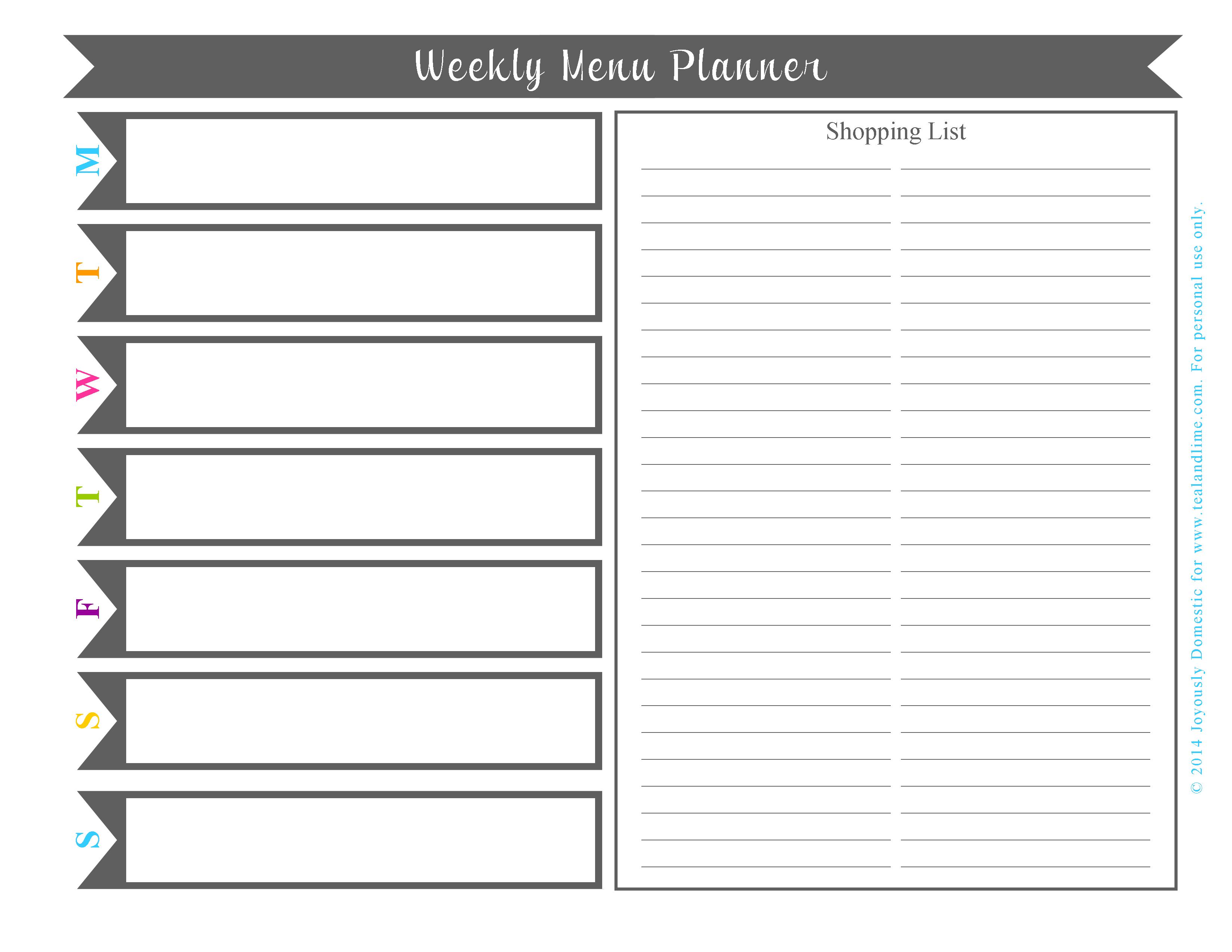 Free Printable Weekly Menu Planner Template