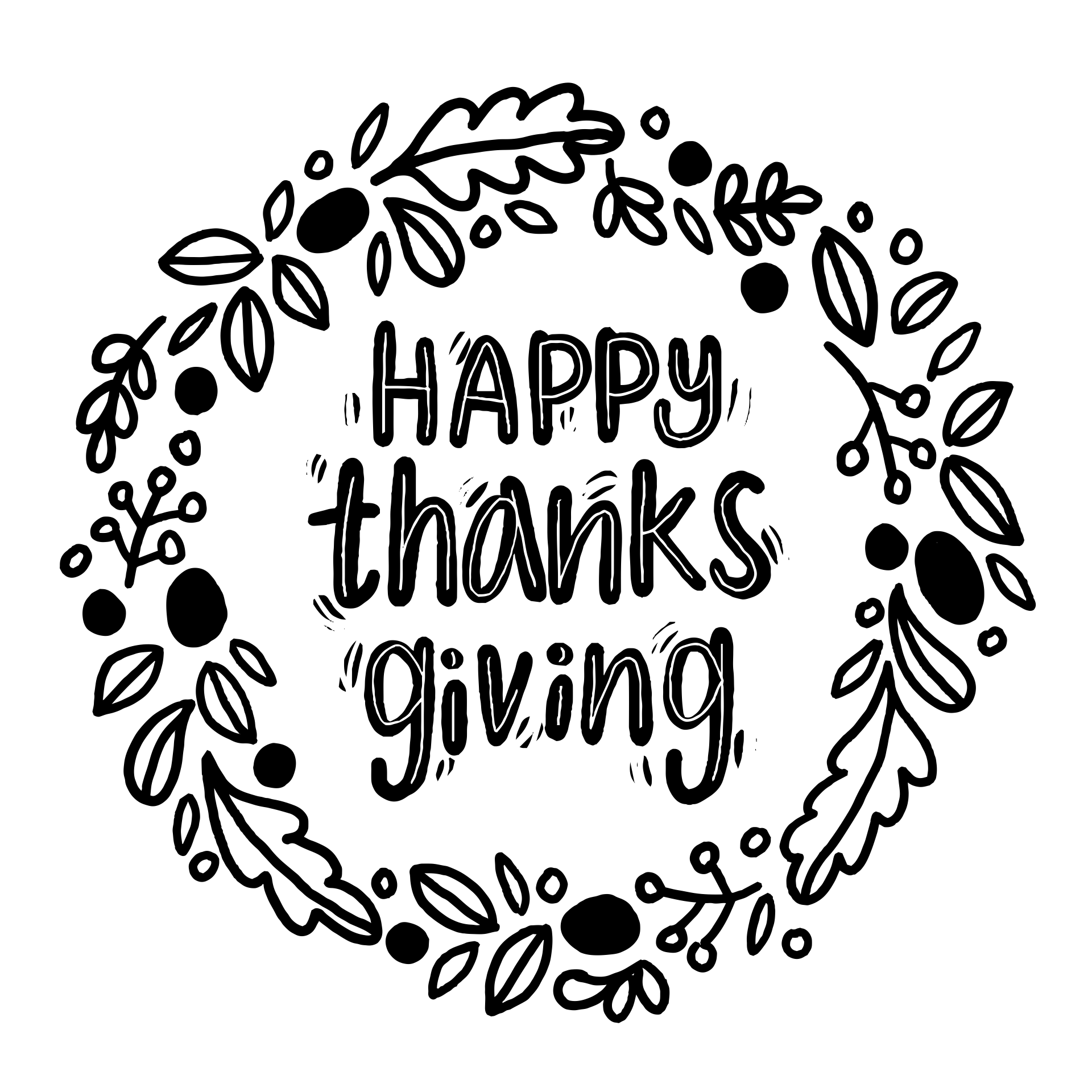 Happy Thanksgiving Clip Art Black and White