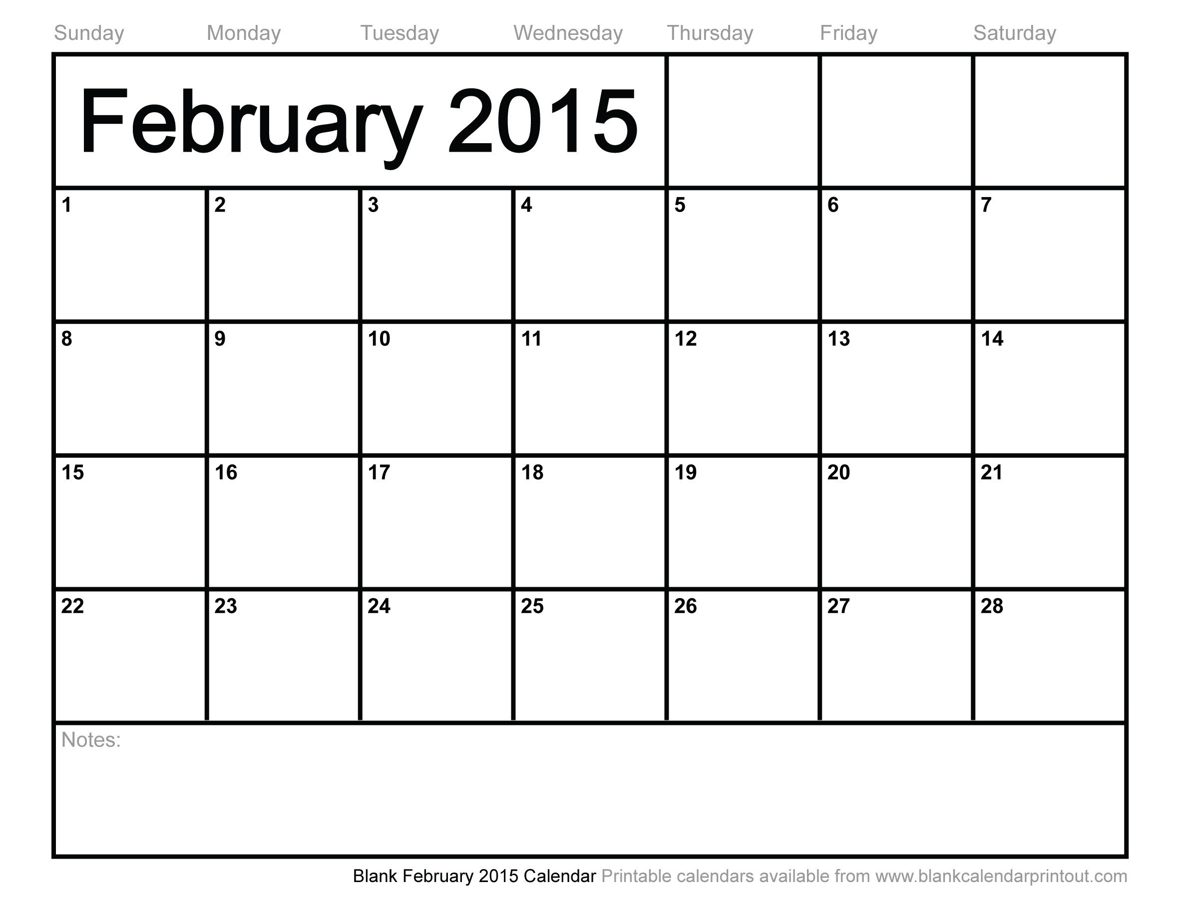 9 Images of Blank February Calendar 2015 Printable