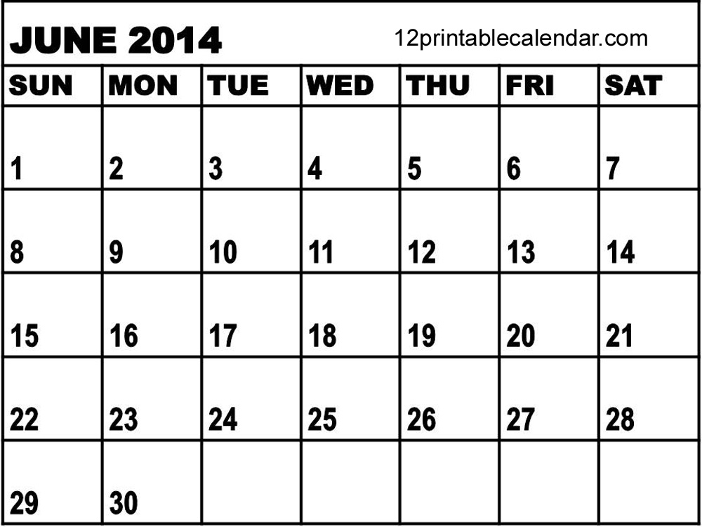7 Images of June 2014 Calendar Printable