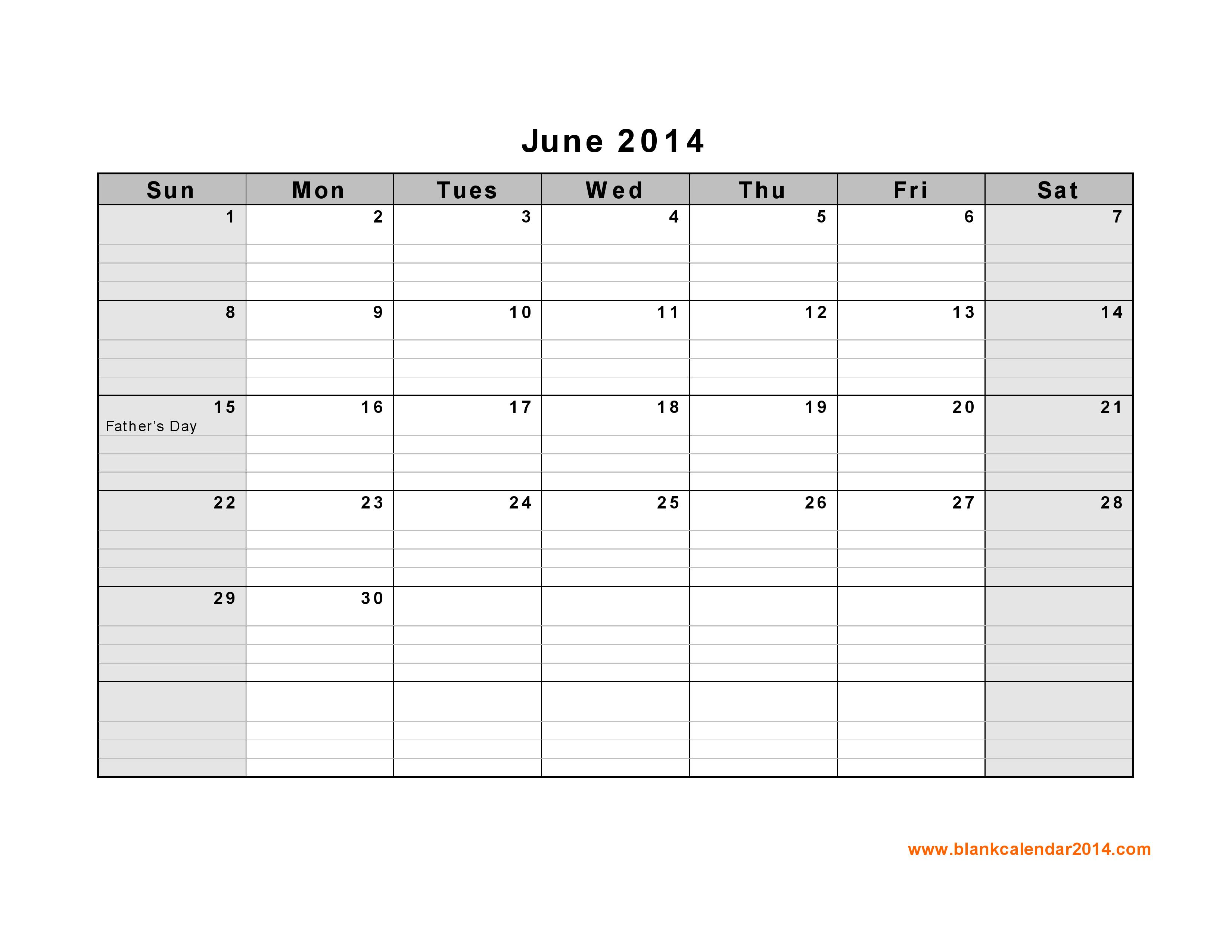 Calendar June 2014 : Best images of june calendar printable