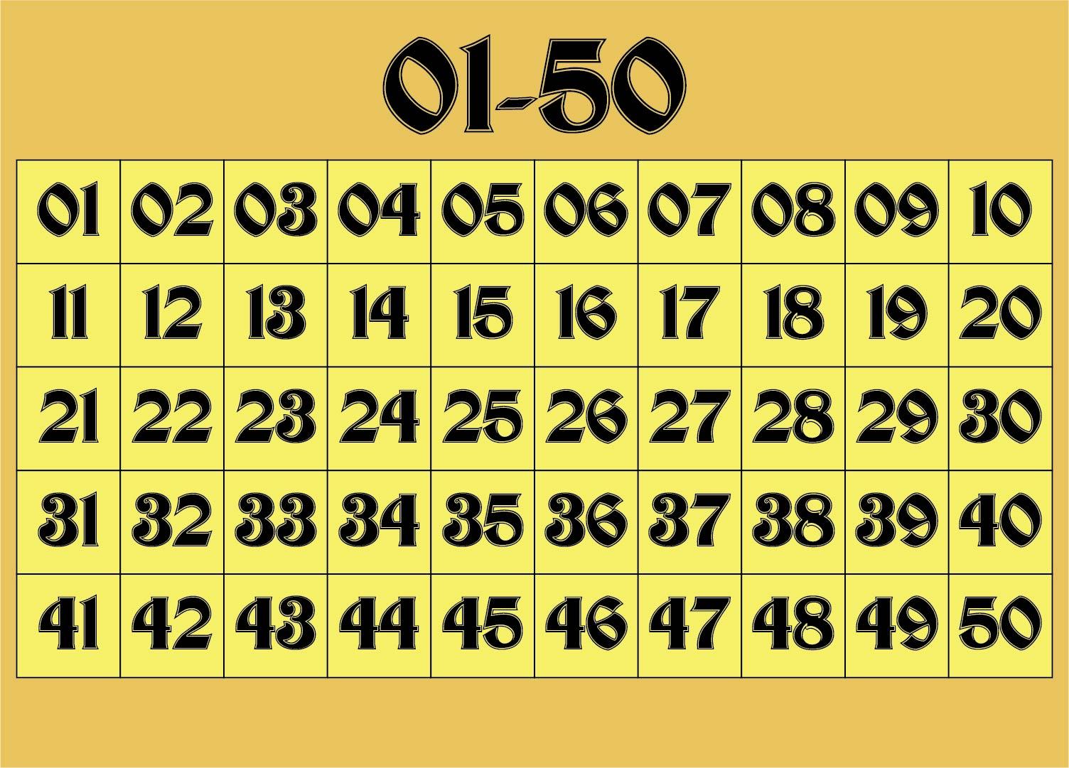 Large Printable Numbers 1 50