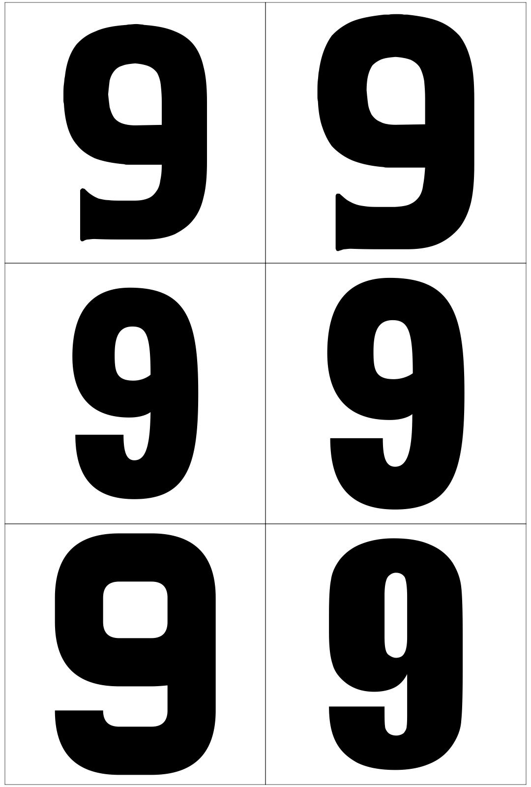 Large Printable Numbers 9