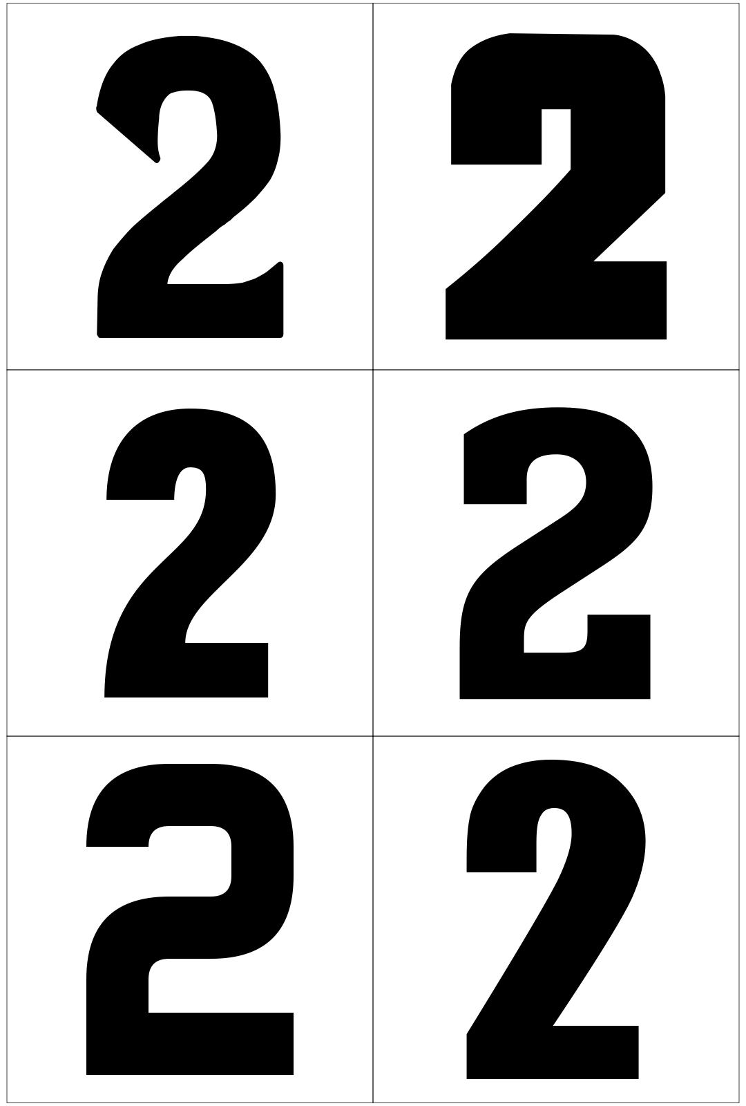 Large Printable Numbers Black 2