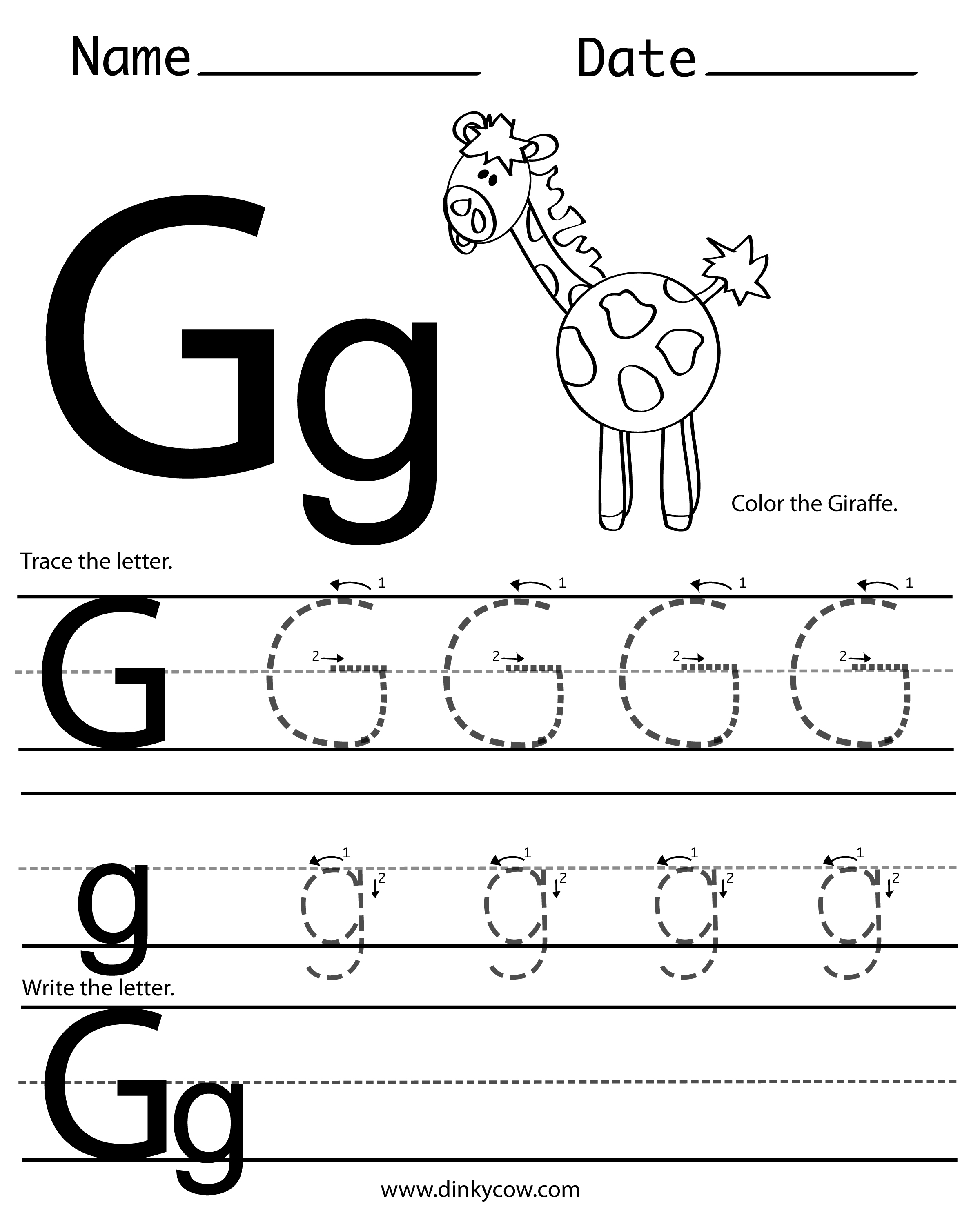 Post_letter G Printable Worksheets_344921 on Tracing Letter G