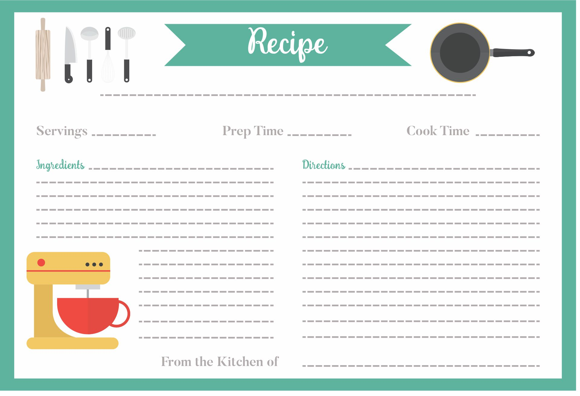 Mason Jar Recipe Card Template 4 X 6