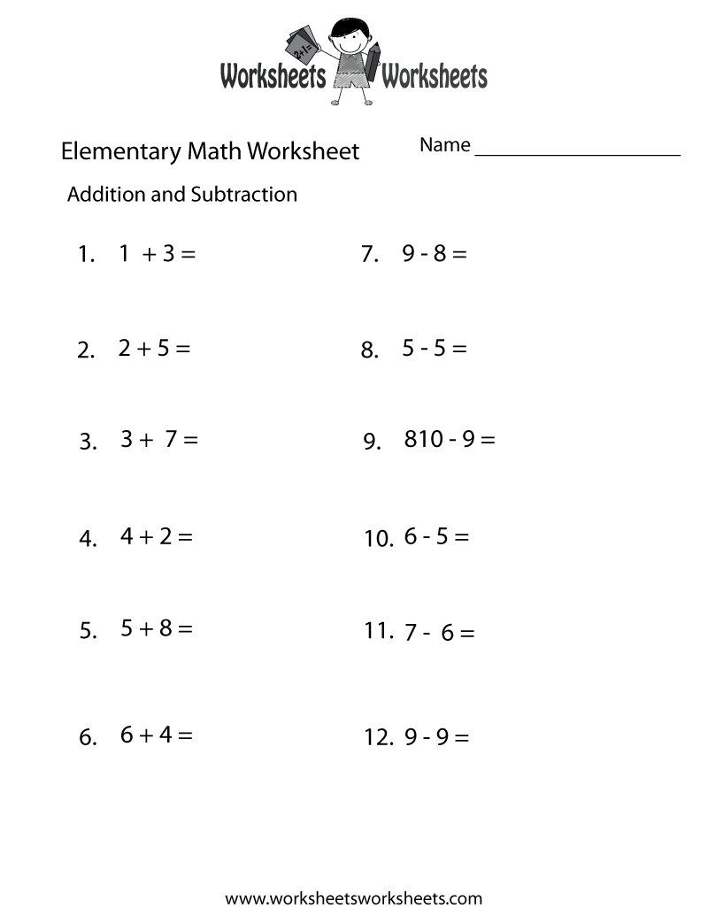 math worksheet : 4 best images of free printable elementary math worksheets  math  : Kindergarten Addition And Subtraction Worksheets