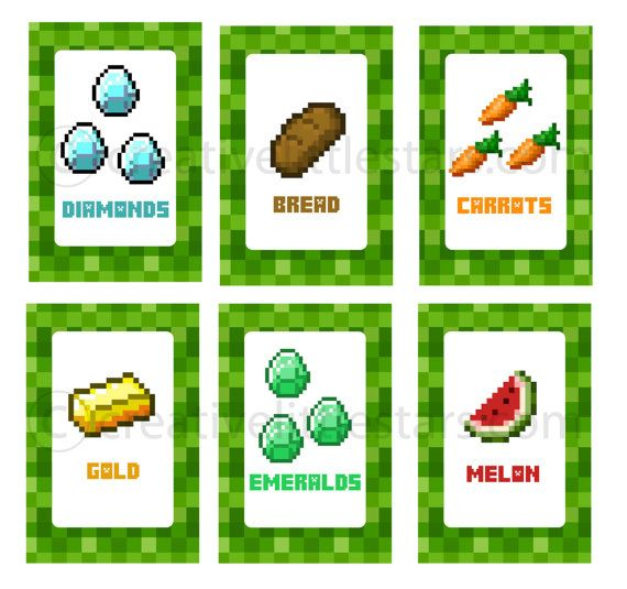 7 Images of Minecraft Party Food Labels Printable