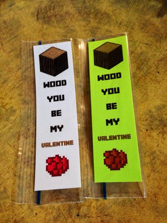 Minecraft Printable Valentine Bookmarks